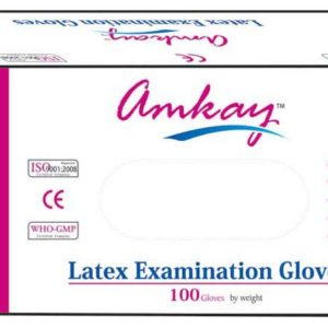 Amkay latex examination gloves White, 100 Pieces Per Pack